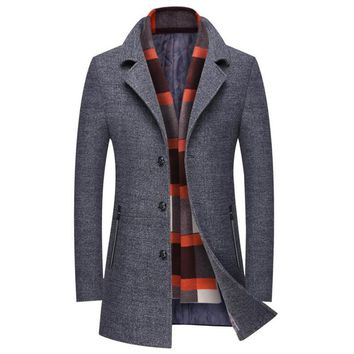 Hot autumn and winter men's jacket business casual warm men wool coat Slim Windbreaker Long section Overcoat