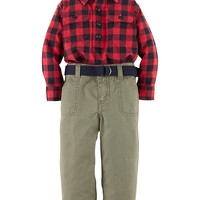 Kids' | 40% Off Kidswear & Toys | Baby Boys 12-24 Months Cotton Twill Pullover Shirt & Pants Set | Lord and Taylor