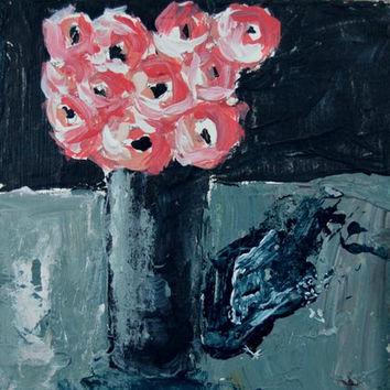 Pink Roses Fine Art Acrylic Still Life Impasto Floral Mini Painting Black and Gray Wall Decor No 14