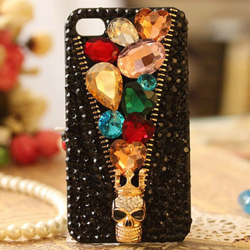 iphone 3/4/4s/5,Apple ipod 4/5,Samsung Galaxy S3/S4/S4 Active,Samsung Note 1/2,Htc One,Blackberry Q10 Z10 Case Bling Crystals Zip Skull