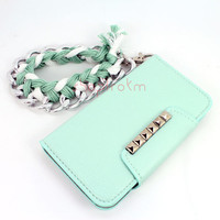 Galaxy s3, s4, iPhone 4s, iPhone 5, note 2, htc one m7 mint silver studded flap wallet phone case matching chunky chain braid wrist lanyard