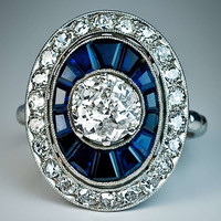 Art Deco Diamond Sapphire Engagement Ring