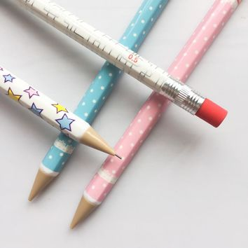 F34 4X Fresh Simple Press Star Dots Mechanical Automatic Pencil School Office Supply Student Stationery Writing Drawing  0.5mm