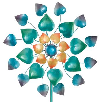 Mesmerizing Metal Leaves Kinetic Garden Stake Wind Spinner
