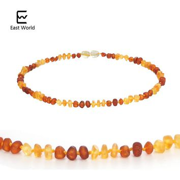 "EAST WORLD 100% Baltic Amber Necklaces for Baby Raw Baroque Handmade Natural Amber Beads Available in 12-15"" Length Screw Clasp"