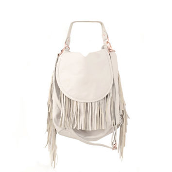 Womens White Leather Fringe Handbag, Boho Fashion Fine Leather Hobo Bag, Slouchy Western Carryall Purse, Handmade Everyday Handbag, Sack Bag