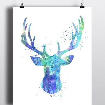Stag Head Watercolor Art Print - Unframed