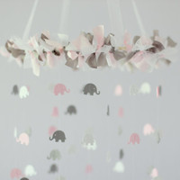 Light Pink, White & Gray Girl Elephant Nursery Mobile- Crib Mobile, Baby Shower Gift, Nursery Decor