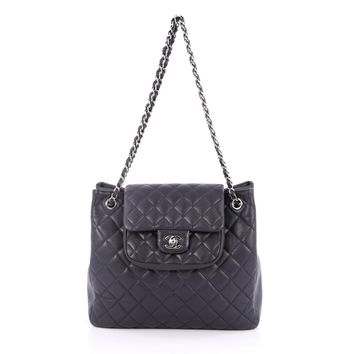 Chanel Pre-Owned: Classic Flap Shopping Tote Quilted Caviar Medium | Bluefly.Com