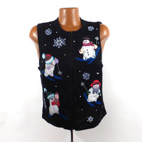 Ugly Christmas Sweater Vintage 1980s Tacky Holiday Cardigan Vest Party Women's size L