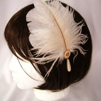 Princess Abati feather headdress - headband, comb, or, clip fascinator made of ivory ostrich feather, goose feathers, and vintage button