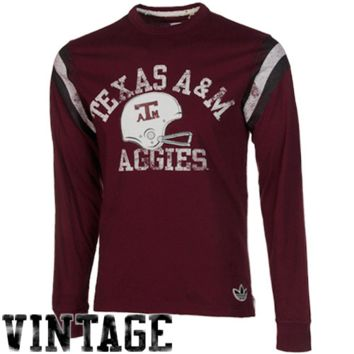 adidas Texas A&M Aggies Applique Crew Long Sleeve T-Shirt - Maroon