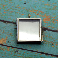 Square Double Sided Glass Shadow box Locket Pendant Charm Silver Vintage style