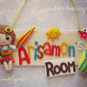 Custom Felt Doorsign - Choose your own color, character and embellishments