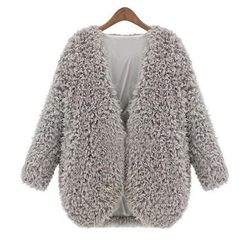 Sheinside Grey V Neck Long Sleeve Faux Fur Coat = 1931789892
