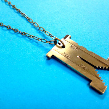 Vintage brass linotype hashtag Twitter necklace.
