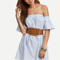 Trendy Summer Blue Striped Off The Shoulder Ruffle Dress
