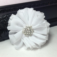 White organza flower with rhinestone center - fabric flowers - wholesale flowers - hair bow supplies - diy supplies