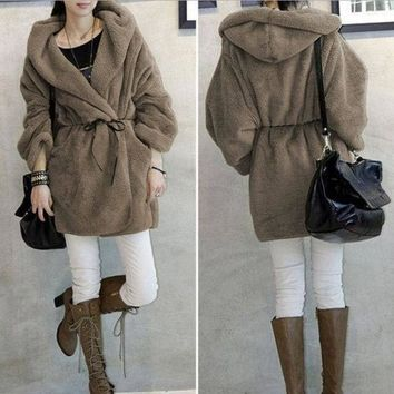 DCCKIX3 Women Long Hooded Coat Warm Autumn Winter Jacket Cardigan Plush Fleece Jacket = 1930338372