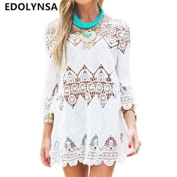 VONE05L New Arrivals Beach Cover up Rayon White Swimwear Tunic Ladies Robe de Plage Pareos For Women Pareo Bathing Suit Cover ups #Q12