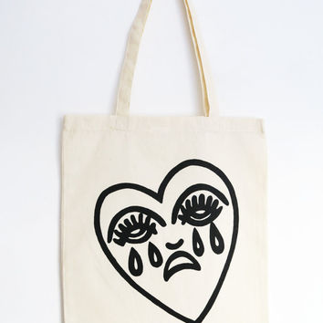 Crying Heart Tote Bag Screen Printed Cotton Canvas Shopper Bag - Natural/Cream, Red, Orange Colour