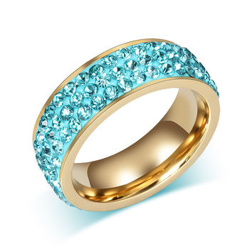 *online exclusive* stainless steel crystal ring