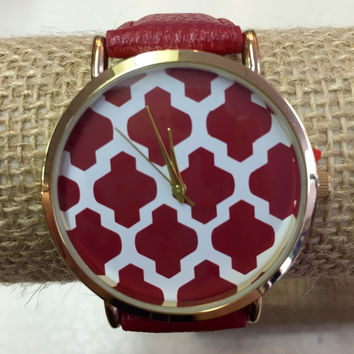 Red Watch with Damask Face