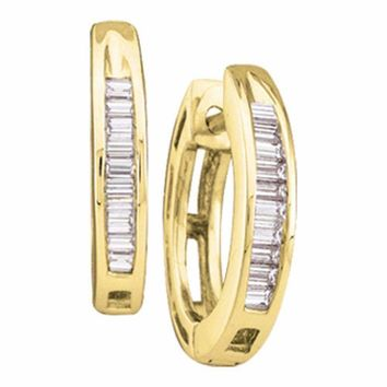 10kt Yellow Gold Women's Baguette Diamond Hughie Hoop Earrings 1-6 Cttw - FREE Shipping (US/CAN)