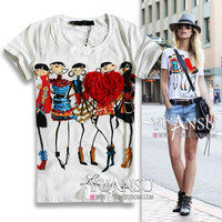2017 Newest blusas femininas 3D Applique Illustrator Print Short-sleeve Elastic Women T-shirt tops for women