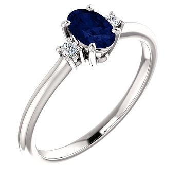 14K Gold Chatham® Created Blue Sapphire Oval & .04 CTW Diamond Ring