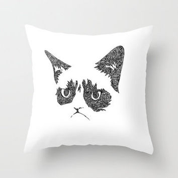 Grumpy Cat Throw Pillow by Aleishajune