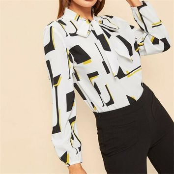 2019 Spring Summer Blouse Women Ladies Casual Geometric Print Bow tie White Shirt Office Blouse Long Sleeve Tops Blusas Female