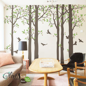 Large  Forest Tree vinyl wall decals, birds stickers -NT006