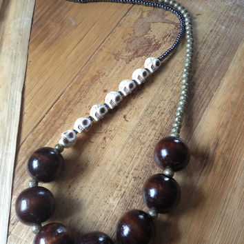 Skull and wood necklace
