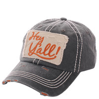 Hey Ya'll Distressed Cotton Baseball Cap Hat Black, Embroidered On Torn Denim Decor