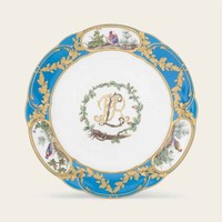 A SEVRES BLEU CELESTE-GROUND PLATE FROM THE PRINCE DE ROHAN SERVICE (ASSIETTE 'A PALMES') | 1771, BLACK INTERLACED L MARK ENCLOSING DATE LETTER S ABOVE PAINTER'S MARK .F. FOR JEAN-ARMAND FALLOT | EUROPEAN CERAMICS, GLASS & CHINESE EXPORT ART Auction | 18th