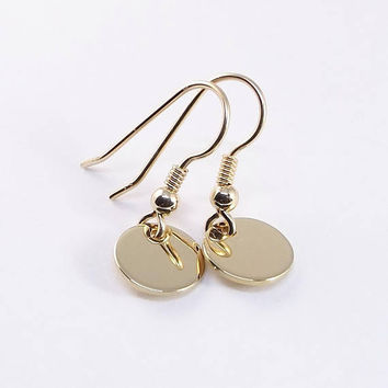 Small Disc Earring, Solid 9k Gold Circle Drop Earring, Minimal Simple Gold Jewellery, Tiny Dangle Earring, Everyday Earring