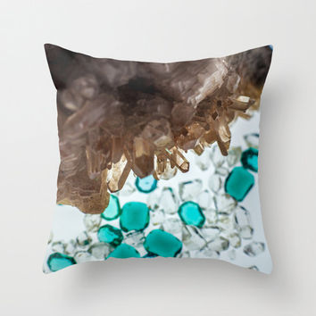 Throw Pillows, Spells, Fur & Quills, Throw Pillows, Turquoise, Beige, Brown, Crystals Throw Pillow