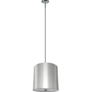 Yosemite Home Decor SH2220-5P-PWSS Lyell Forks Satin Steel Five Light 22-Inch Drum Pendant with Pristine White Shade