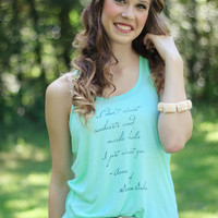 Anne of Green Gables Quote Tank Top in Mint Green- Sunbursts Quote-Women's Flowy Racerback Tank