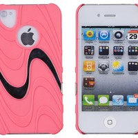 "DandyCase ""Swirl Wave"" Neon Pink Case for Apple iPhone 4, 4S (AT&T, Verizon, Sprint) - Includes 24/7 Cases Microfiber Cleaning Cloth [Retail Packaging by DandyCase]"