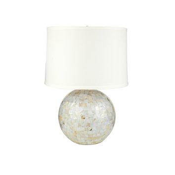 Mother of Pearl Sphere Table Lamp with Fabric Shade