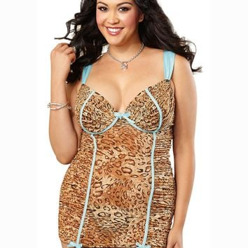 Plus Size Leopard Garter Slip And G-String Chemise (1X-2X,Leopard)