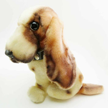Vintage 1980s Basset Hound Stuffed Toy Beagle by Pascal KAMAR Velveteen Plush Pup Puppy Dog Tan and Brown