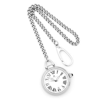 Charles Hubert Stainless Steel Open Face w/Date Pocket Watch