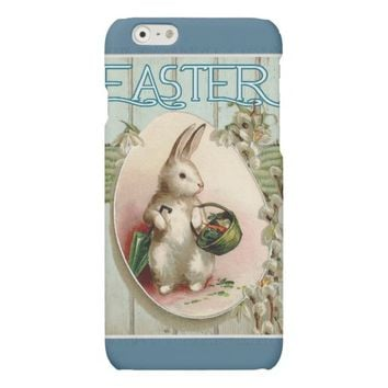 Vintage Easter Bunny with basket of Easter Eggs Matte iPhone 6 Case