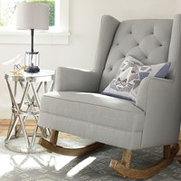 Modern Tufted Wingback Convertible Rocker & Ottoman | Pottery Barn Kids