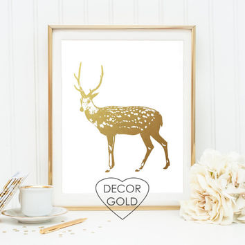 deer foil print art gold foil gold office decor gold home decor typography art print wall art nursery gold art fawn print decor antlers