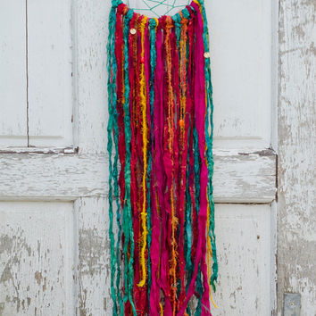 Boho Dreamcatcher, Festival, Emerald Green, Red, Pink, Bohemian, Gypsy Home, Sari Silk, Wall Hanging, Colorful Home Decor, Wedding Gift