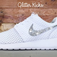 Women's Nike Roshe One Breeze Casual Shoes By Glitter Kicks - Customized With Swarovski Elements Crystal Rhinestones - White/White